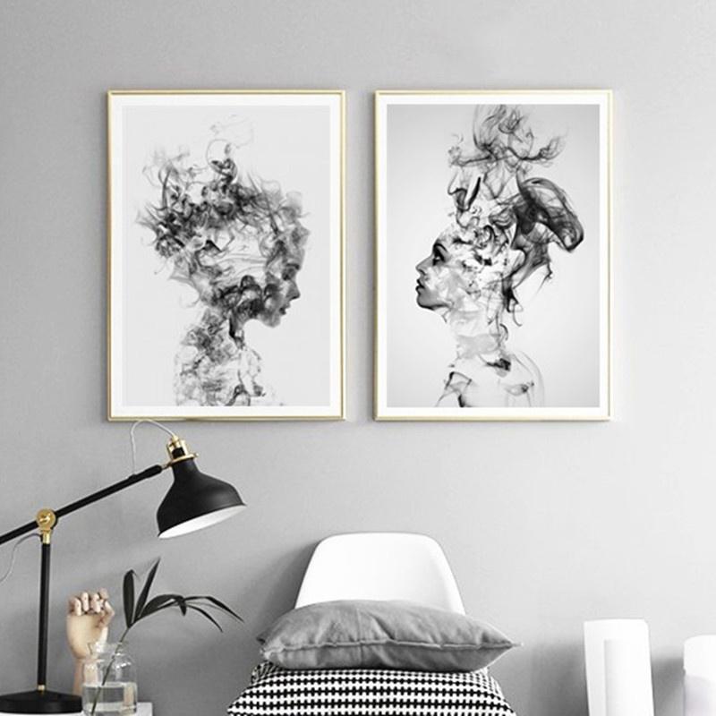 Acheter Moderne Nordique Noir Et Blanc Sur Toile, Peinture ...