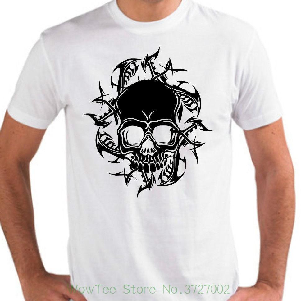 Es T Shirt Totenkopf Tribal Skull Bones Rock`n`roll Metal Ek030 Youth Round  Collar Customized T Shirts Coolest T Shirts Online Buy Shirt Designs From  ... a489e9b9166