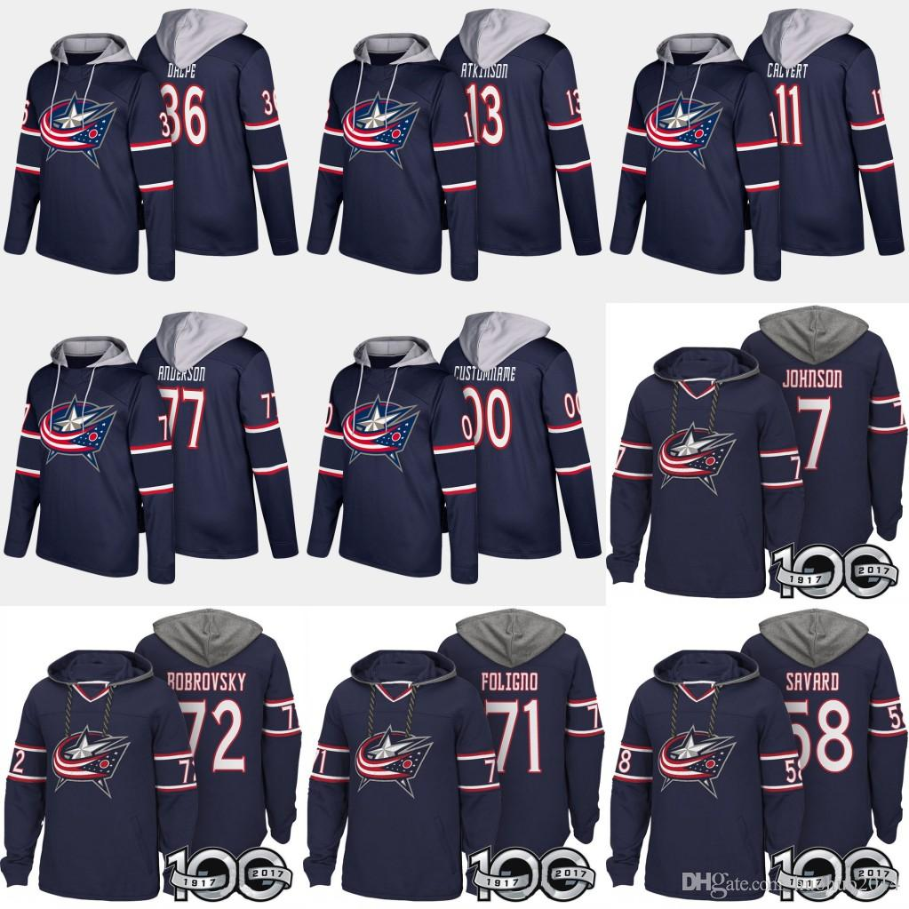 Columbus Blue Jackets Hockey Hoodies Sergei Bobrovsky Seth Jones Sergei Cam Boone Jenner Atkinson Seth Jones Nick Jackets David Jersey