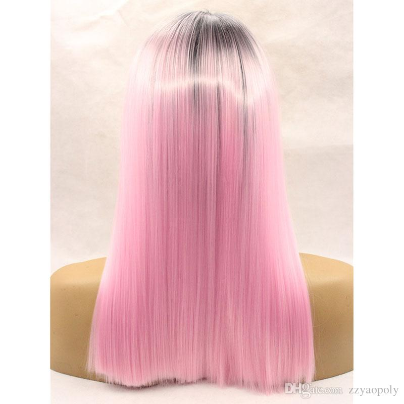 Ombre Pink To Black Two Tones Short Bob Wigs Synthetic Lace Front Wig Feat Resistant Fiber With Dark Roots For Women