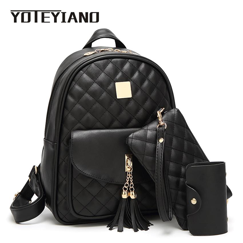 YOTEYIANO Women s Backpack Lattice PU Leather Bookbags School Bags For  Teenagers Girls Tassel Shoulder Bags Day Clutch Travel Backpacks Small  Backpack From ... 1640679b4ca1e