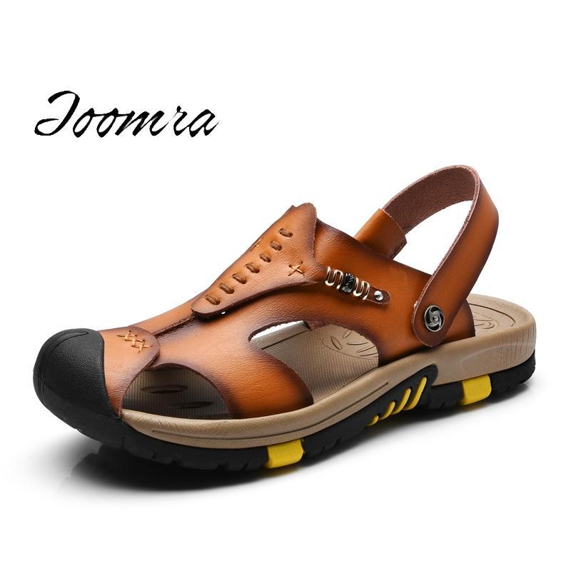 e0dde390f4d1 2017 Summer Men Sandals Handmade Genuine Leather Slippers Two Way Wear  Breathable Beach Shoes Soft Hard Fold Sandalias Birkenstock Sandals Shoes  For Women ...
