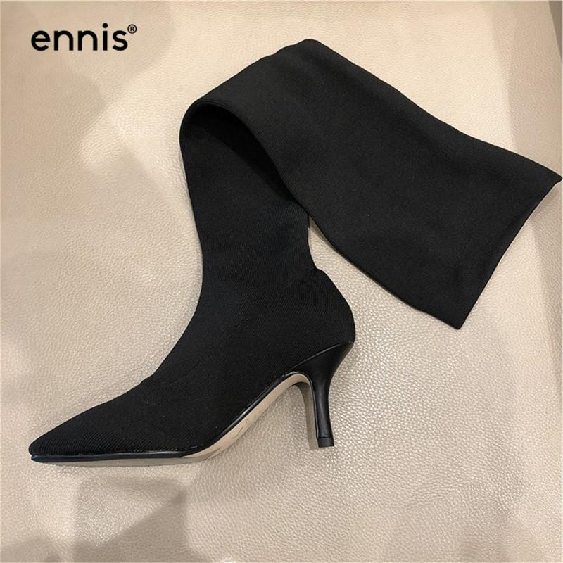 197dbf76616 ENNIS 2018 Designer Knitted Sock Boots Women Black Knee High Stretch Boots  Pointed Thigh High SLIM FIT Sexy Shoes NEW L872 Boots Office Shoes From  Tasehook