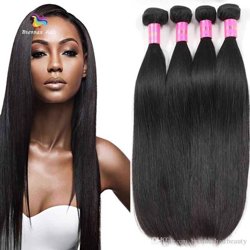 Raw Indian Straight Human Hair Bundles 100% Unprocessed Virgin Remy Human Hair Weaves Wholesale Price Double Weft Natural Black Color