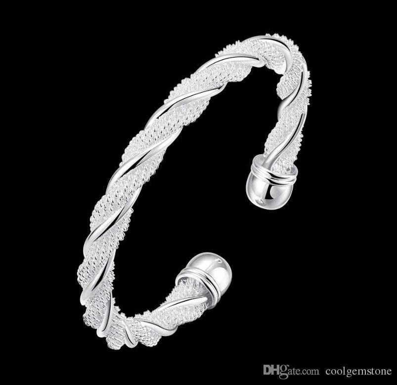 Antique Pure 925 Sterling Silver Open Bangle Bracelet Girl