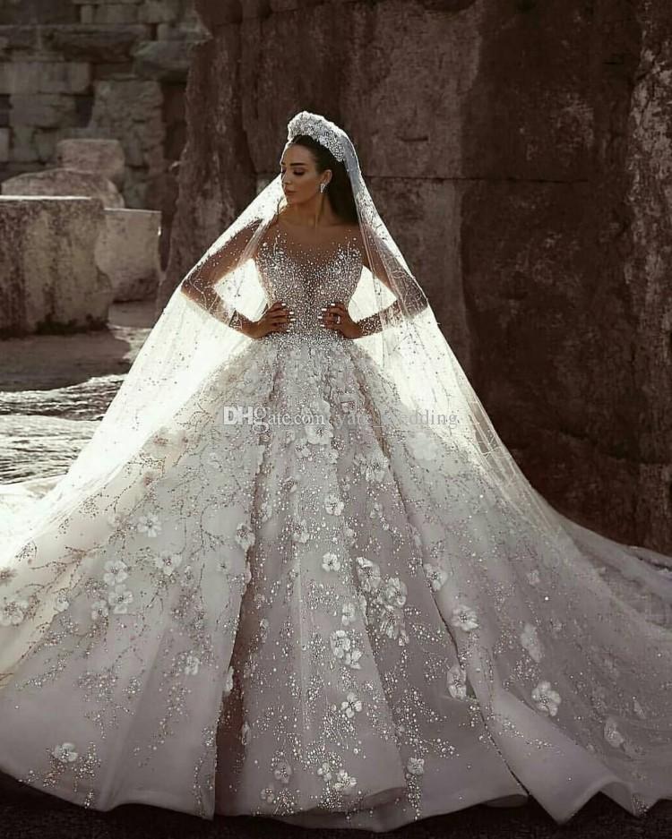Abiti da ballo di lusso Abiti da sposa Collo lungo Maniche lunghe Bordare Fiori Tulle Saudi Arabo Budai Abiti da sposa Cattedrale Train