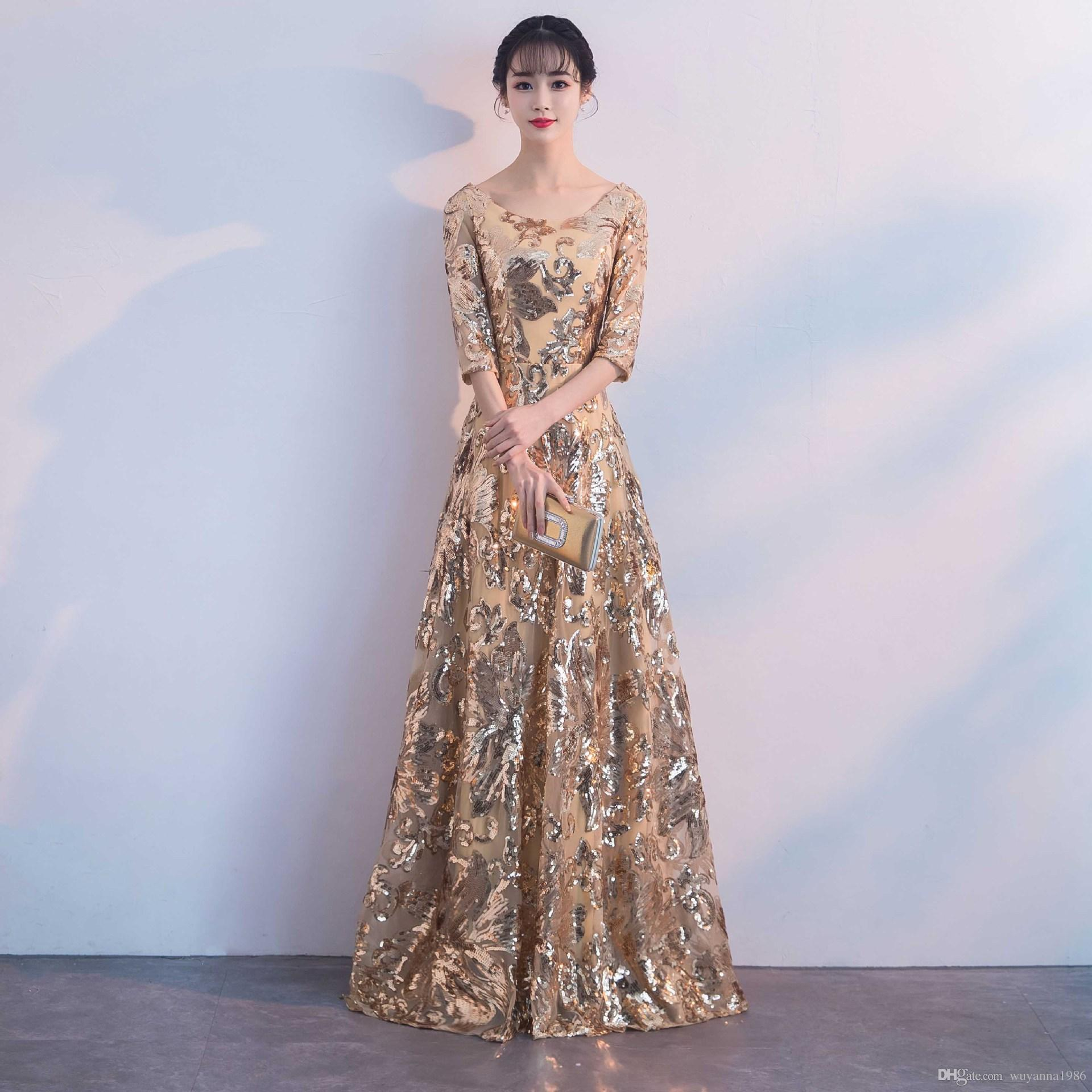Easy Design Long Party Gowns 2018 New Arrival Scoop Neck Formal ...