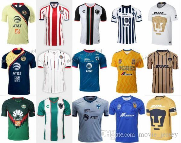 MÉXICO Club LIGA MX FC Camisetas De Fútbol America Chivas Guadalajara UNAM  Rayados Monterrey Tigres UANL Camiseta De Fútbol Kits Team Uniform Men Por  ... 4a15ed6006bcb
