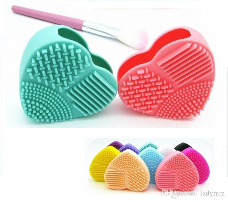 Atacado Forma de coração Pincel de Maquiagem Mais Limpo 8 Cores de Silicone Ferramenta de Limpeza Cosmética Lavagem Escova de ovo Pad Escova de Limpeza Cosmética