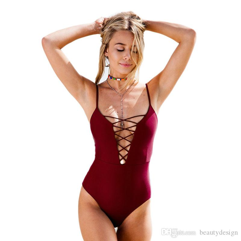 Raodaren Swimwear Women Bikini One Piece 2018 Brazilian Sexy Bathing Suit Push Up Swimsuit Blue Hollow Out Halter Bandage Beach Wear