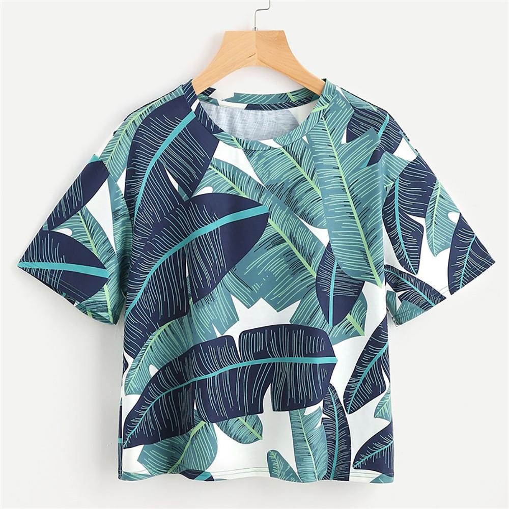 2018 Embroidered Leaves Women Ladies O-Neck T-shirt Short Sleeve Leaf Print  Crop Pullover Tops kpop malha feminina