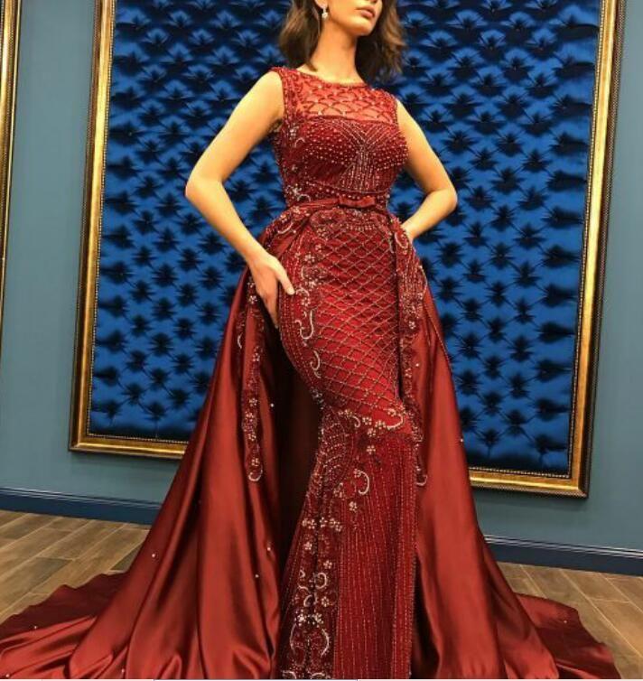 Vestido de noite Yousef aljasmi Kim kardashian O-pescoço frisado fita sereia vestido longo Almoda gianninaazar ZuhLair murad Ziadnakad 0014