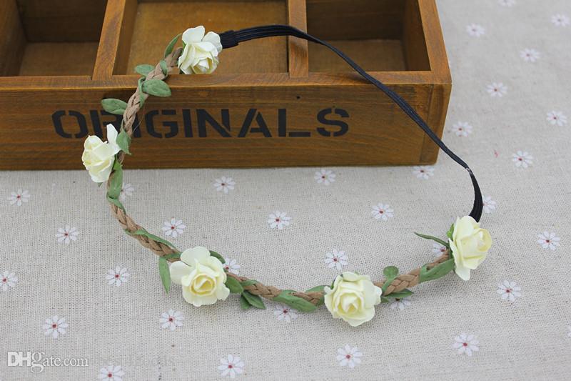 Wholesale - Bride Bohemian Flower Headband Festival Wedding Floral Garland Hair Band Headwear Hair Accessories for Women