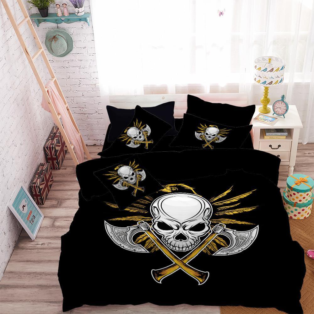 Silver Double Axes Criss Cross Bedding Set Skull Golden Eagle Duvet