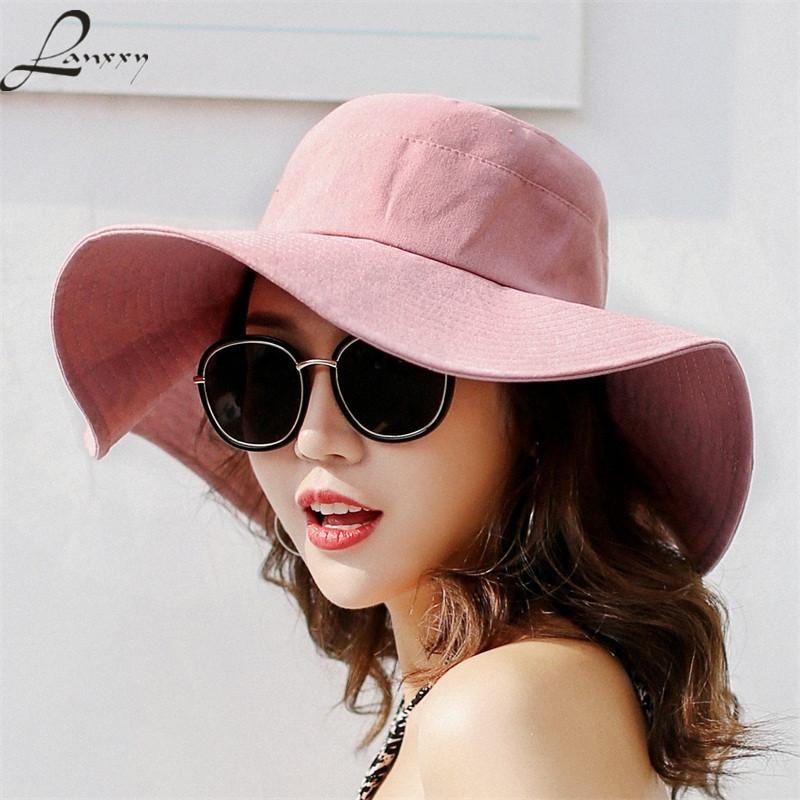 fd51b5db50edf Lanxxy Women New Floppy Beach Sun Hat Summer Wide Brim Fishing Cap Panama Ladies  Bucket Hats Bucket Hats For Women Kentucky Derby Hat From Tonic