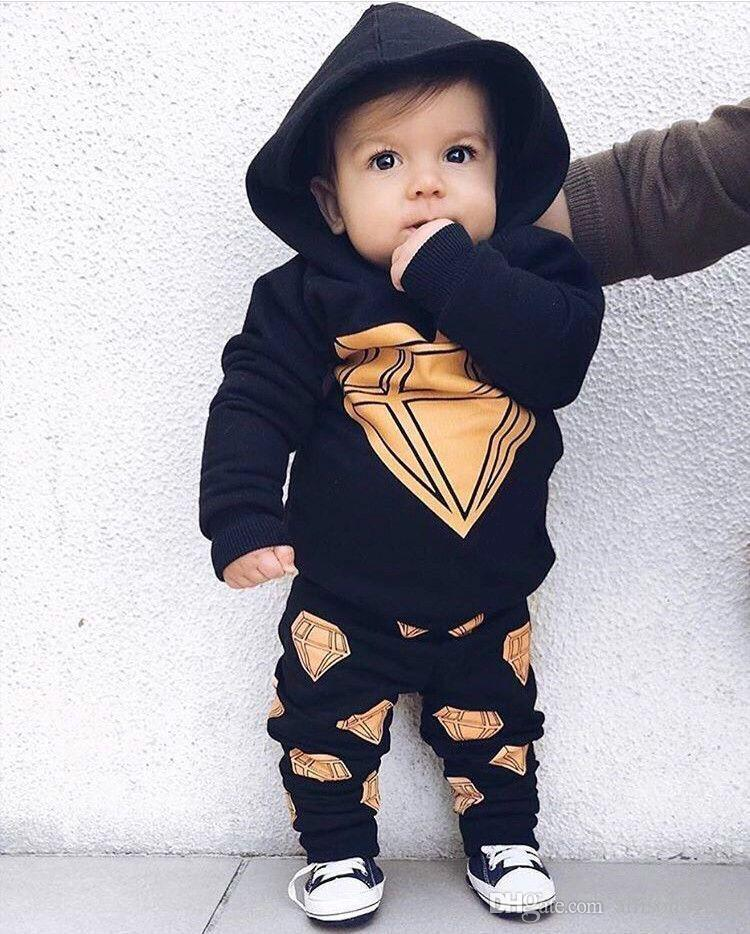 008d4eea327e1 2018 Ins Spring Baby boy Outfits Geometric Dimond Hoodies+ Full Printed  Pants 2pcs/set Navy New arrival