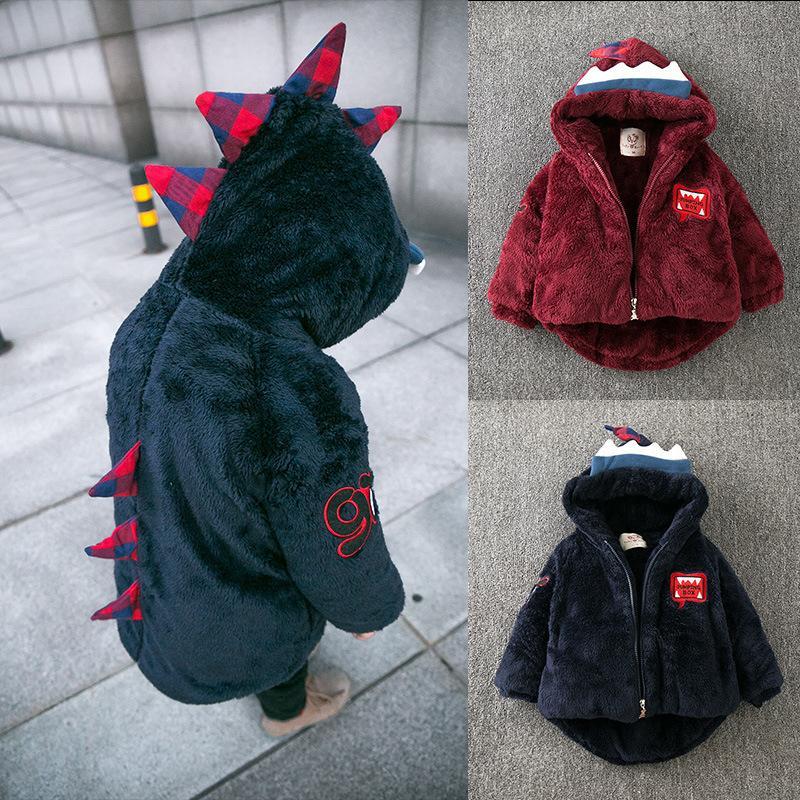 LZH новорожденных девочек пальто 2017 Осень Зима Куртка для мальчиков куртка динозавр куртка с капюшоном дети теплая верхняя одежда пальто Детская одежда
