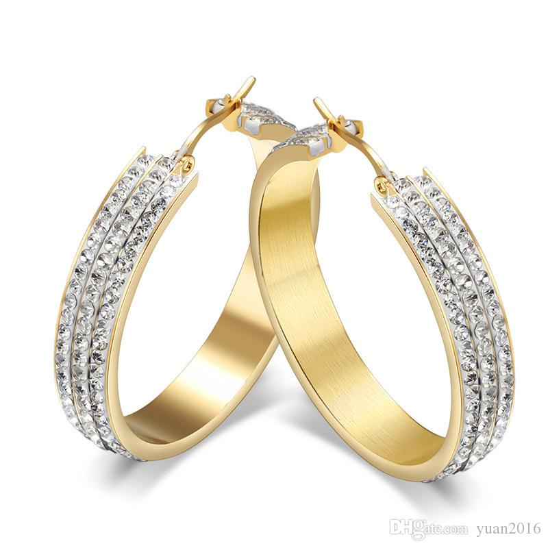 b3959071e9f9c Stainless Steel Hoop Earring for Women Square Tube White CZ Diamond  Acccent,18K Gold Plated