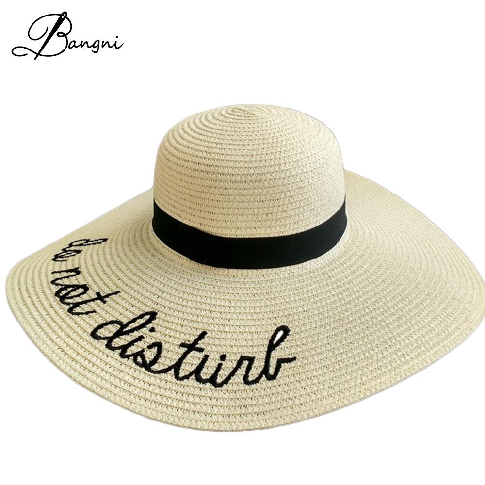 6303c9c9cb7 New Folded Ladies  Wide Brim Straw Beach Hats With Embroidery Women s Sexy  Large Floppy Sun Caps New Brand Chapeu Praia Wedding Hats Baby Hats From  Wutiamou ...
