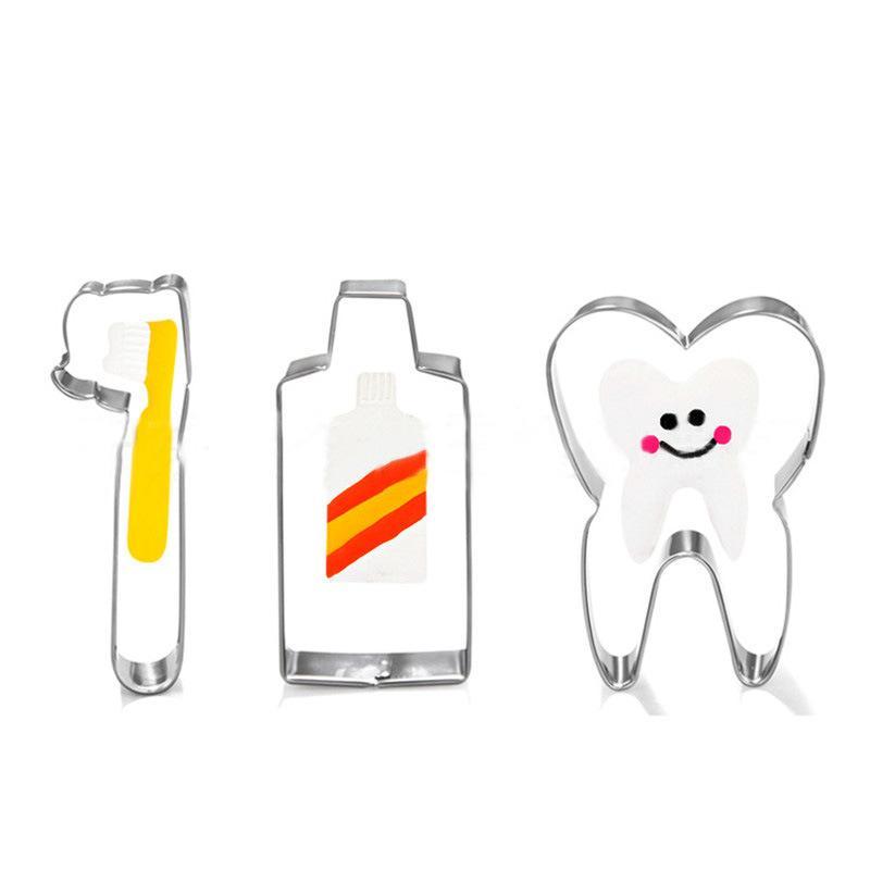 Satın Al 3 Adet Takım Diş Fırçası Diş Macunu Diş şekli çerez Kalıp