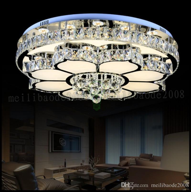 New round crystal lamp Modern minimalist atmospheric living room lamp LED ceiling lamp creative bedroom restaurant lighting