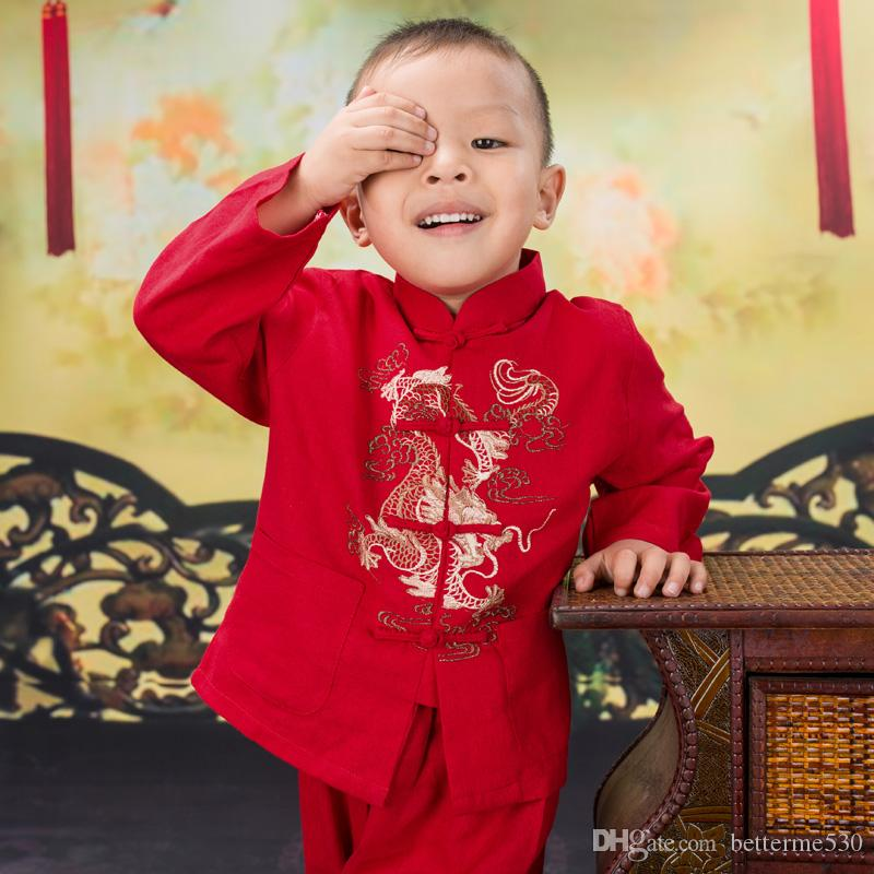 Autumn Spring Cotton Colorful Chinese Retro Style Dragon Embroidered Tang Suits Gongfu Show Stage National Boys Sets