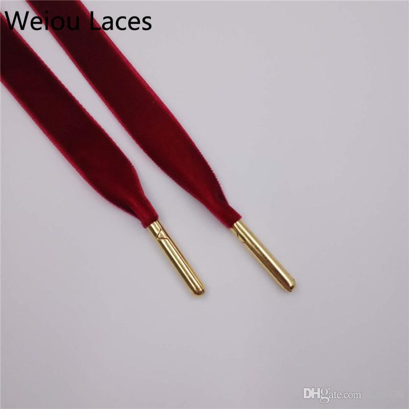 Weiou 1.27cm width one side elegance graceful velvet shoelace Casual Shoes Laces for Women Men multicolored shoe string