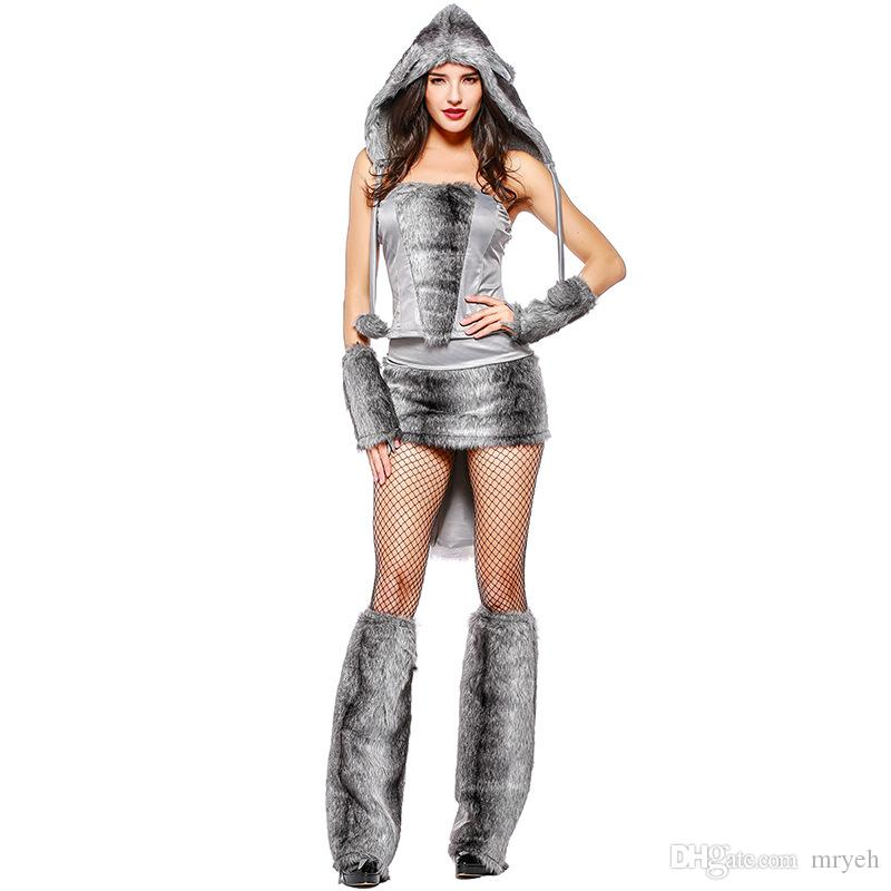 2018 Lady Sexy Big Bad Furry Wolf Cosplay Costume Sexy Grey Wolf Suit with Tail Women Halloween Party Fancy Dress