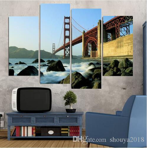 4 Panel Golden Gate Bridge Large HD Home Decorative Picture Wall Art Print Modern Painting on Canvas for Living Room Unframed