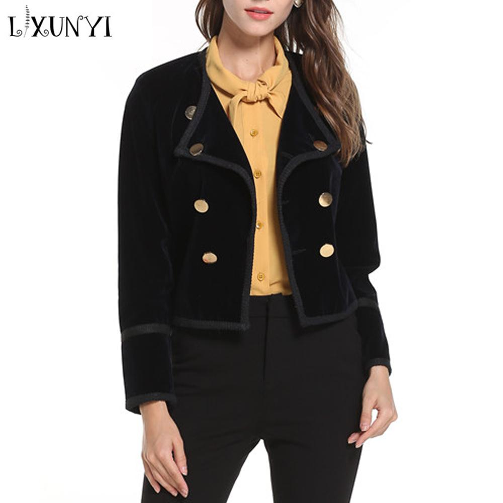 Compre LXUNYI Full Stock Blazer De Terciopelo Corto Negro Chaqueta De Mujer  Chaqueta De Botones Con Doble Botón De Oro Suave Chaqueta De Mezclilla De  Damas ... 541457d357a