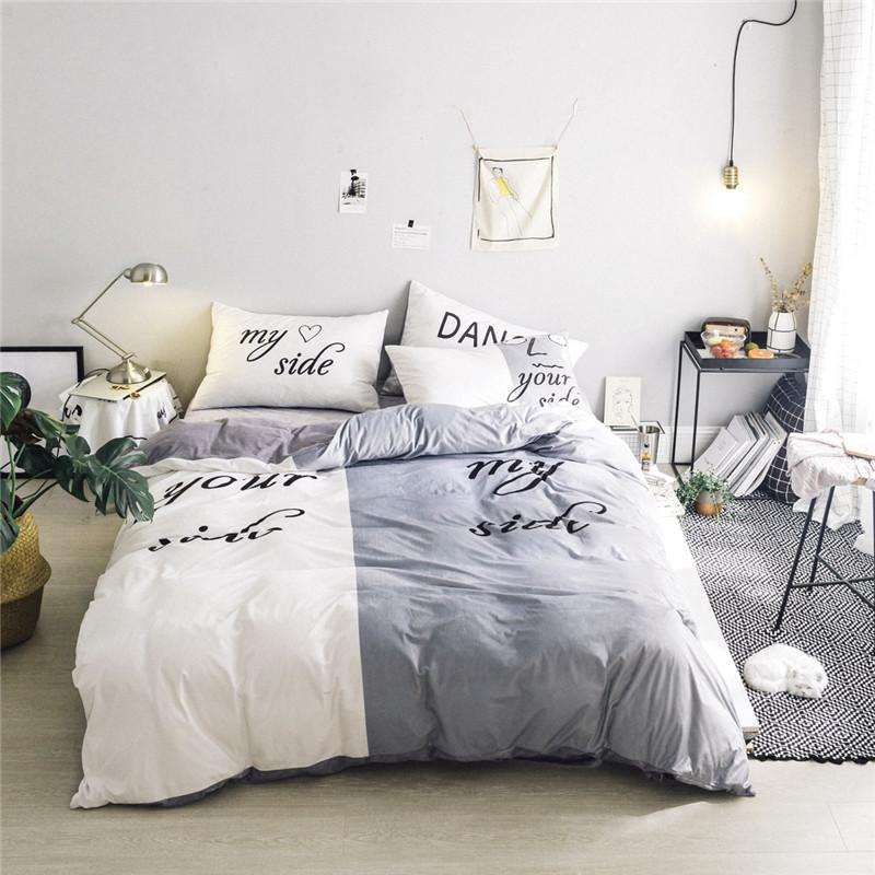 Black White Her Side His Side Winter Bedding Sets Twinqueen Size