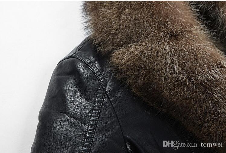 Véritable fourrure de raton laveur Manteaux Vestes d'hiver coupe-vent neige en cuir Jakcets Outwear manteau chaud épais de haute qualité Plus Size DHL