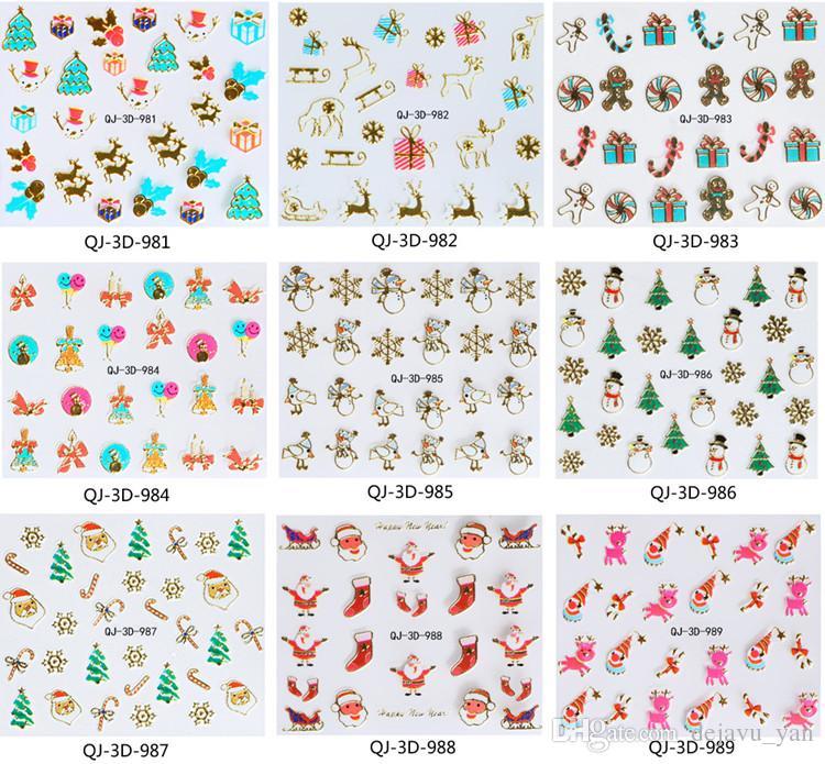 DHL Envío gratuito al por mayor - 24 piezas / lote Diseños de Navidad en 3D Nail Art Sticker Decal Foil Adhesivo Manicura Consejos Decoración de uñas Maquillaje Herramientas