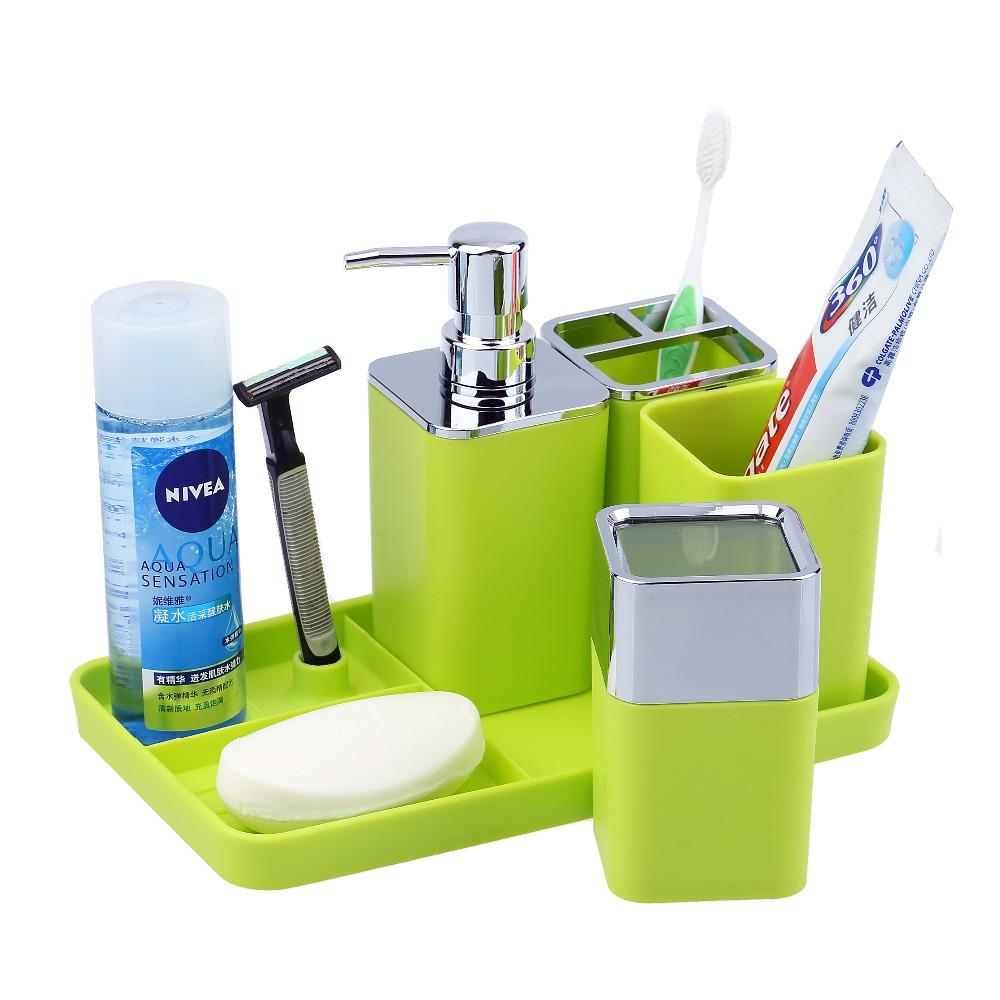 . 5pcs Plastic Bathroom Accessories Set Soap Dispenser Soap Dish Tray  Toothbrush Holder Tumblers New Hot Bathroom Accessories Soap Dishes