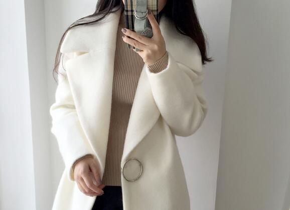 2017 nuove donne di inverno giacca di lana manica lunga di colore solido pulsante singolo metà lungo Slim moda cappotto donna elegante H438