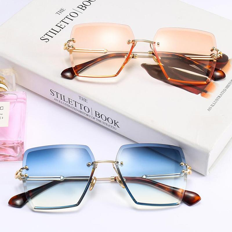 0f9a990364 Square Sunglasses Women Frameless Gradient Colorful Sun Glasses Men Lady  2018 Fashion Rimless Eyewear Man Female Shades Goggles Vintage Sunglasses  Super ...