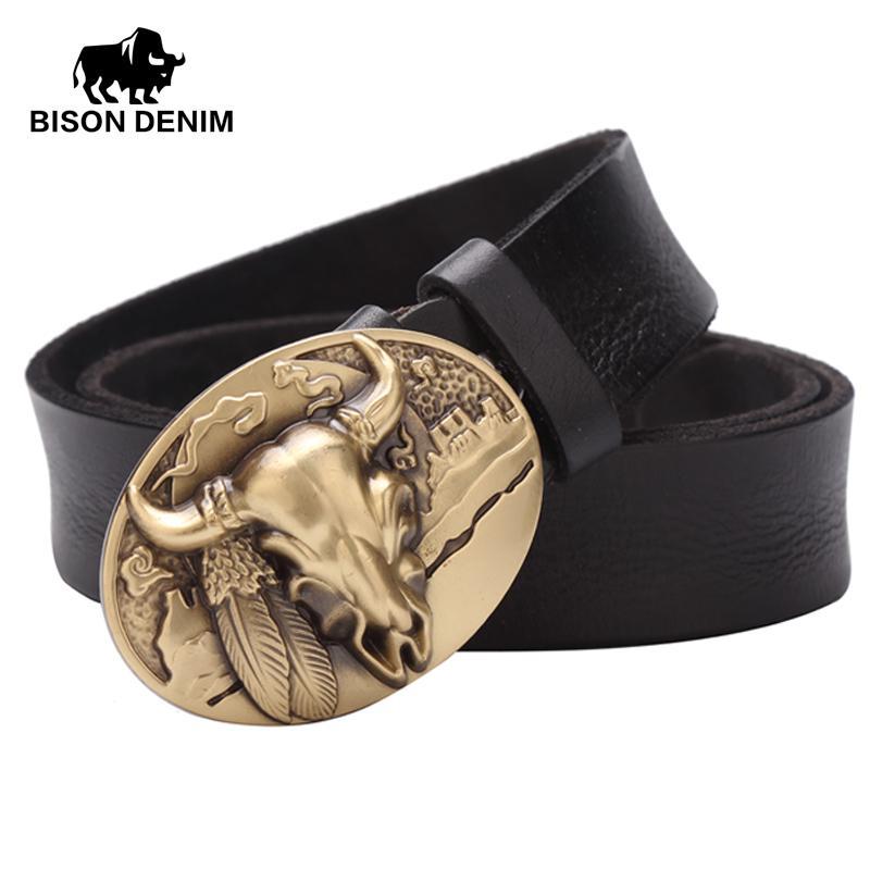BISON DENIM Top Layer Genuine Leather Belts Luxury Brand Designer Cowboy  Belts For Men Vintage Alloy Board Belt Buckle W71030 1B Karate Belts  Designer Belts ... 64df1dfcc2