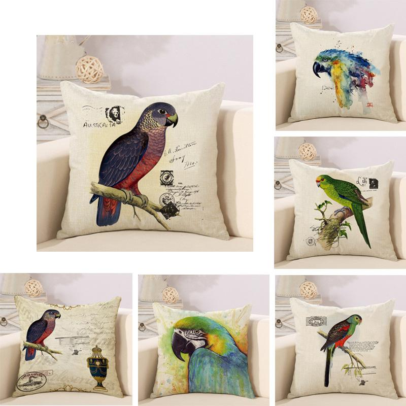Modern classical American flower and bird living room sofa pillow cotton parrot pillowcase Decorative Throw Pillows cushion covers
