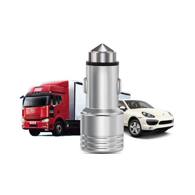 3.1A dual USB car charger Round Aluminum Metal Safety Hammer Charger Adapter For Phone Ipad Digital camera