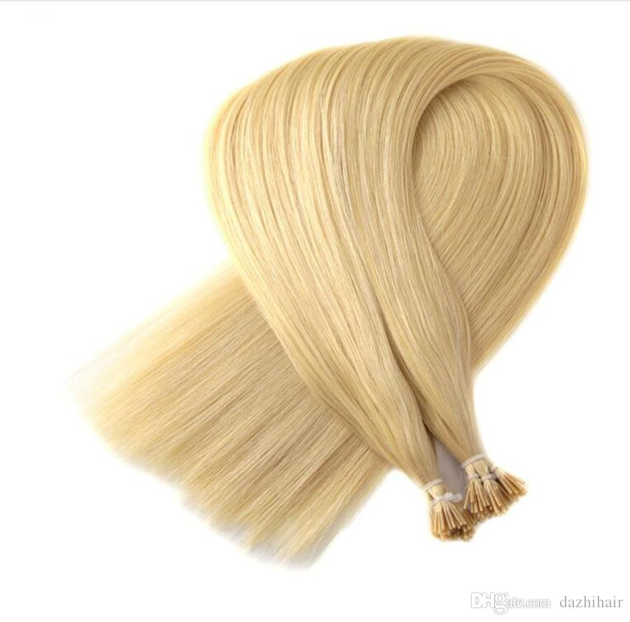 Blonde Straight Pre Bonded Human Hair I Tip Stick Keratin Double