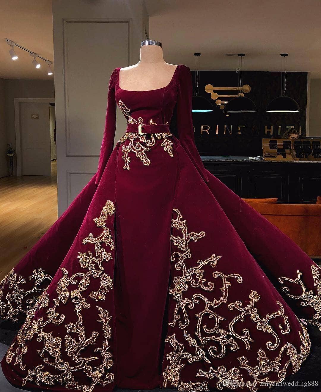 Burgundy Velvet Gold Crystals Embellishment Winter Ball Gown Wedding Dresses 2018 Long Sleeves Scoop Neckline Gowns Green