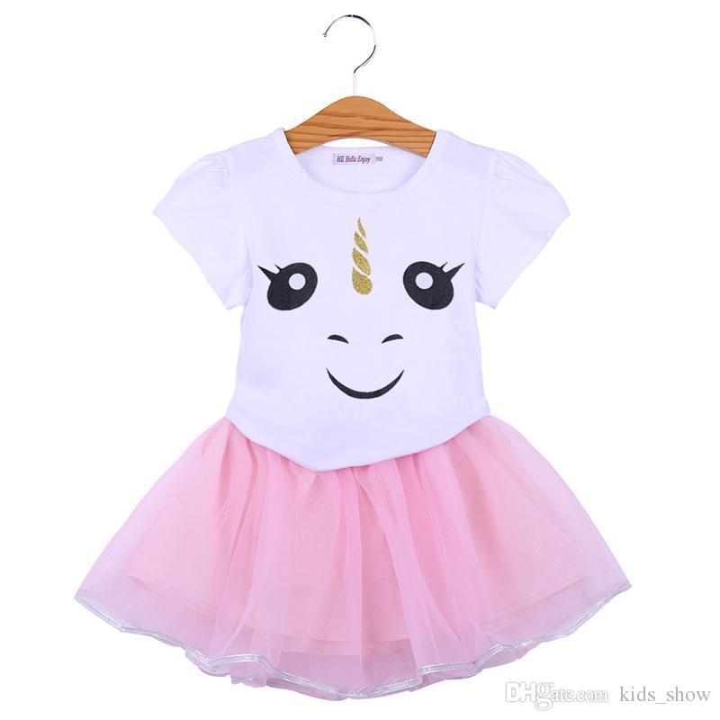 a0acb1c828526 Baby Girls Unicorn Tutu Dress Party Unicorn Tulle Dress Kids Girls Summer  unicorn skirt top Clothes