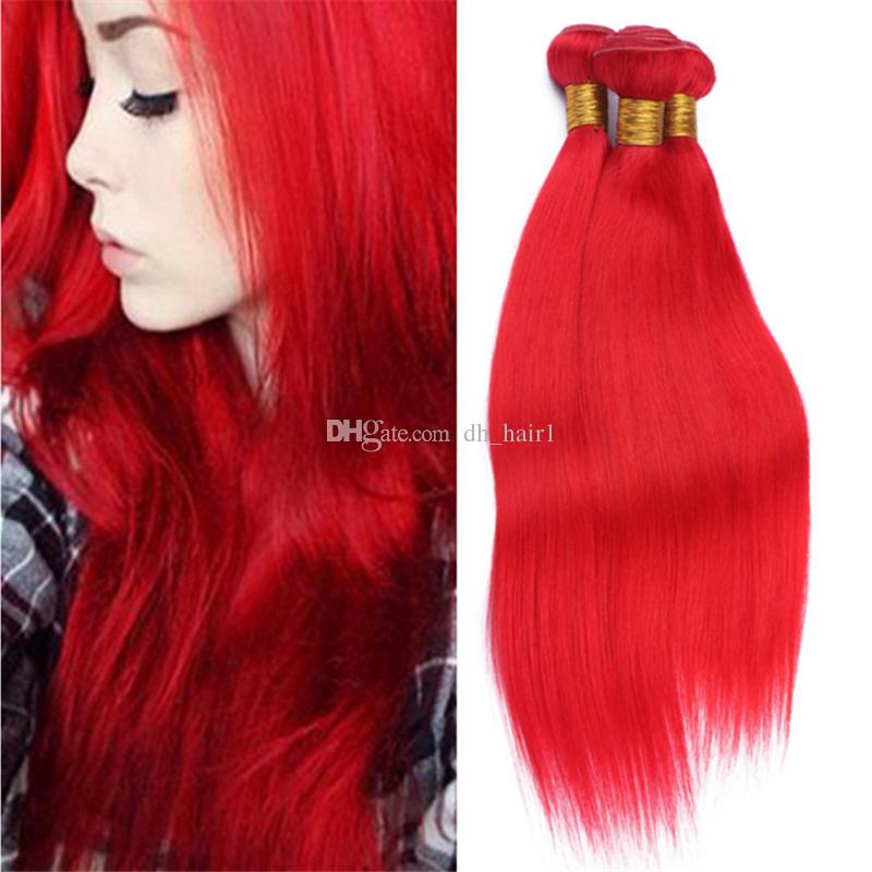 9A Virgin Peruvian Red Human Hair Extensions 3 Bundles Silky Straight Bright Red Color Hair Weave Double Wefts On Sale