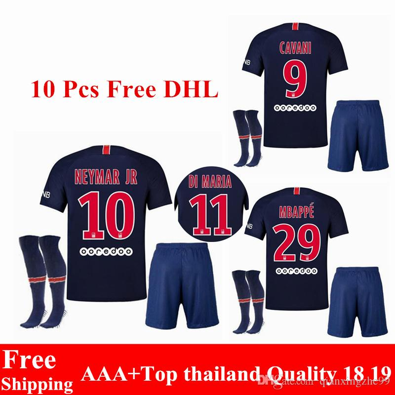 2019 New 18 19 PSG Jerseys Neymar Jr Soccer Jerseys Sets 2018 2019 Home  Blue CAVANI Survetement Paris Maillot De Foot Mbappe Football Kits From ... ed7fed7d3