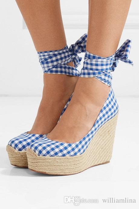 bbf1b3e0035 Favorite Summer Canvas Platform Wedge Barbaria Zeppa 120mm Gingham Red  Bottom Wedges Espadrilles Ankle Strap Women Dress Pumps Eu35 42 Sandal  Ladies Shoes ...