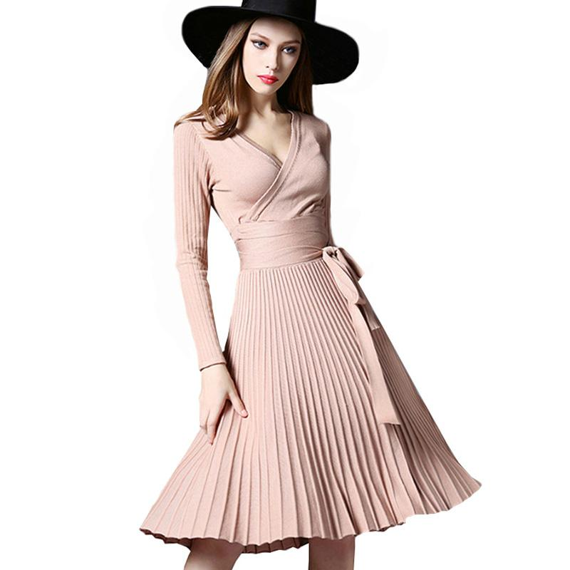 4439c21df1 High Quality Elegant Winter Dresses 2017 Office Dresses For Women  Decorative Sashes V Neck Solid Plus Size Vintage Vestidos Work Clothes  Ladies Dress Styles ...