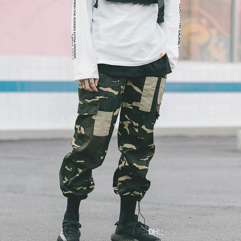eee2a3579fc71 2019 Side Pockets Camouflage Cargo Pants Men 2018 Patchwork Loose Style  Men'S Pants High Street Pants From Littlebirdofficialst, $48.74 | DHgate.Com