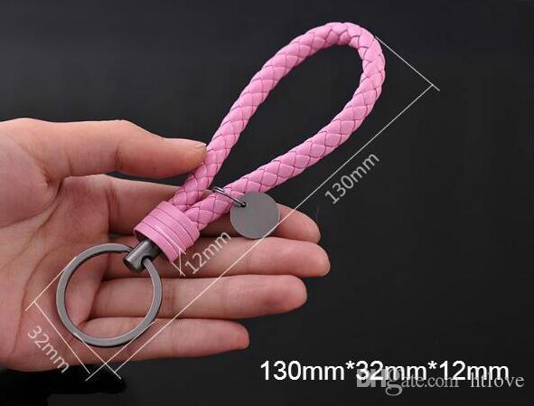 Alta qualidade PU Corda De Couro Tecida keychain homens mulheres chave titular chaveiro saco de pingente de saco de charme 20 Cores