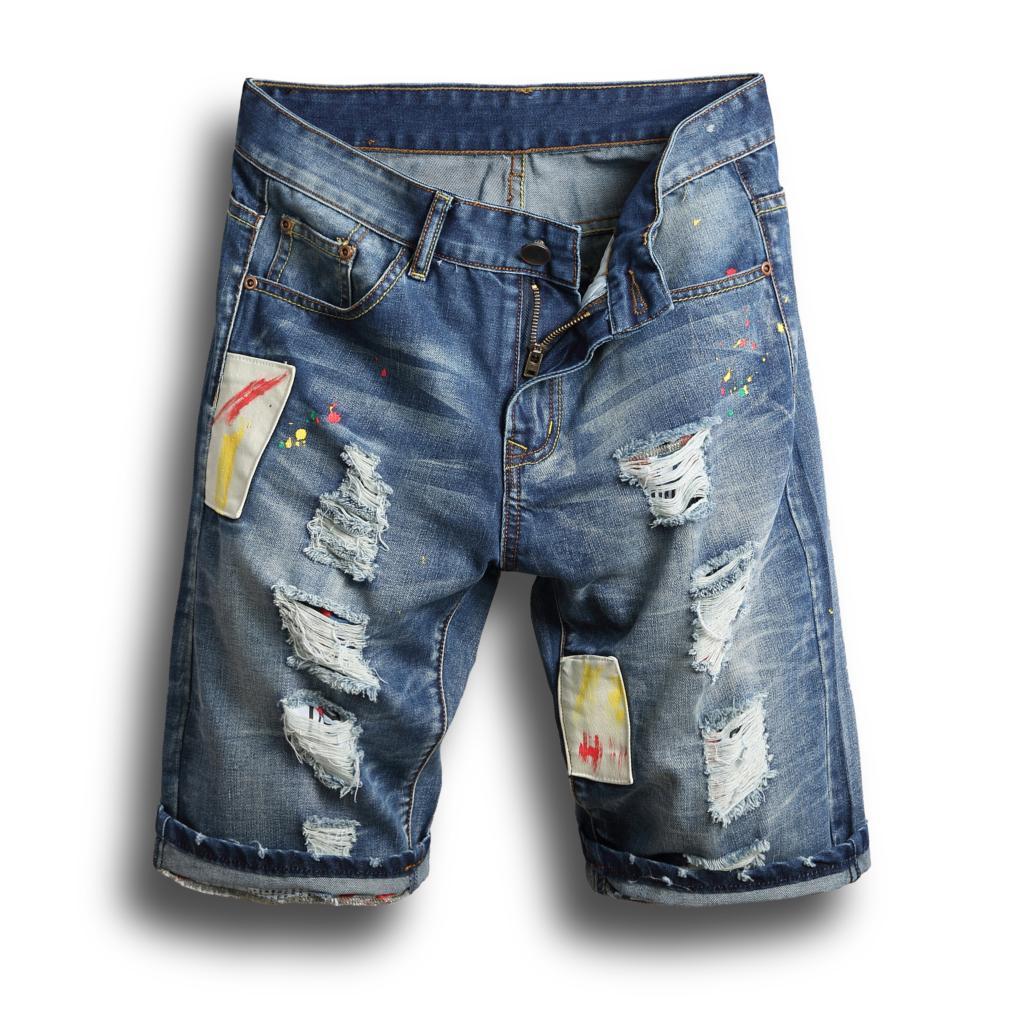 Acheter Shorts Hommes Été Déchiré Jeans Court 98% Coton Shorts Jean Bermuda Homme  Denim Marque Vêtements Taille Plus 28 38 De  45.63 Du Duixinju  76deb90202e