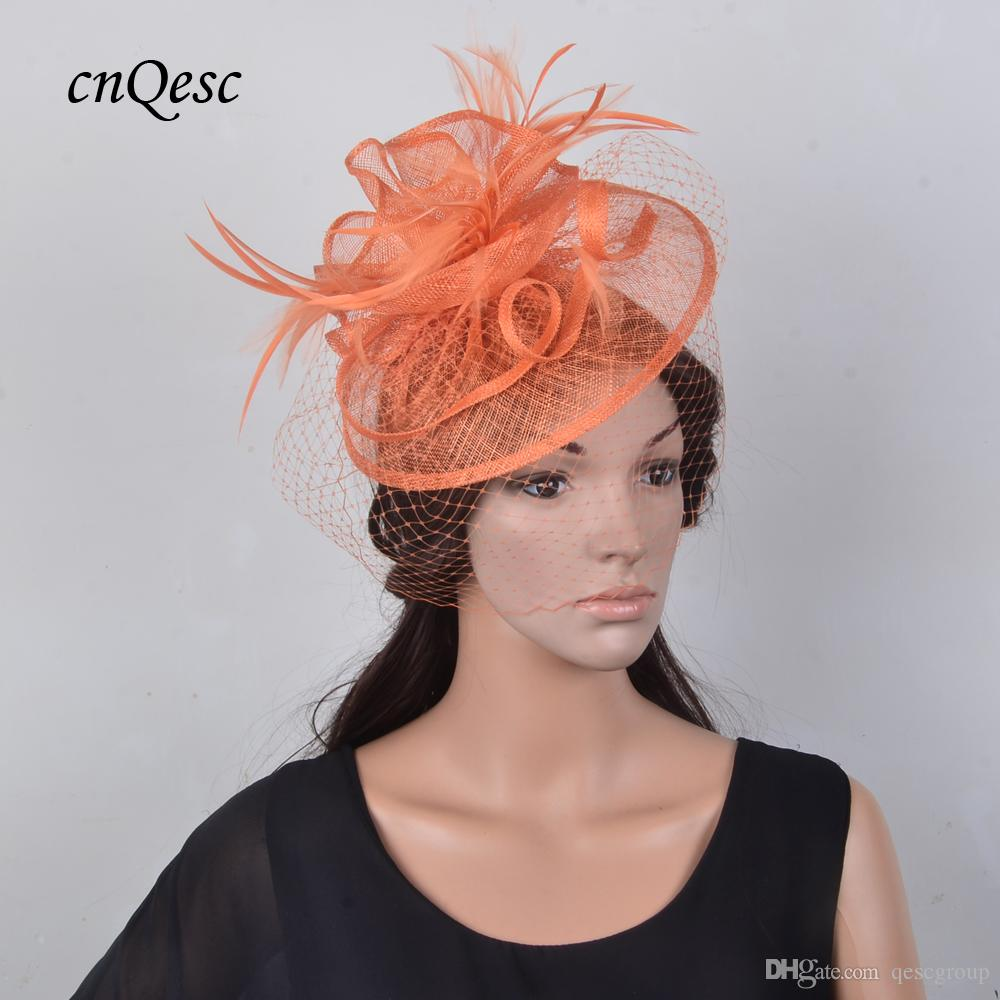 4a4da9580a6 New Colour Orange Feather Fascinator Veil Hat Sinamay Wedding Hat ...